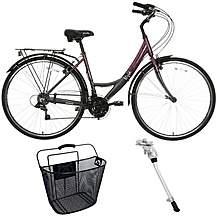 image of Apollo Elyse Hybrid Bike, Basket And Kick Stand Bundle