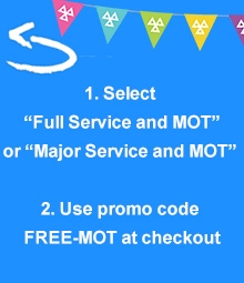 Select Full Service and MOT or Major Service and MOT. Use promo code FREE-MOT at checkout.