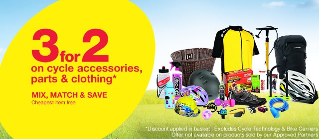 3 for 2 on cycle parts, accessories & clothing