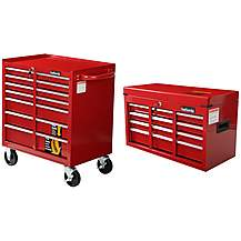 image of Halfords 7 Drawer Mobile Tool Chest and Halfords 6 Drawer Tool Chest Bundle