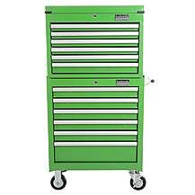 image of Halfords Industrial 6 Drawer Chest and Cabinet Bundle - Green