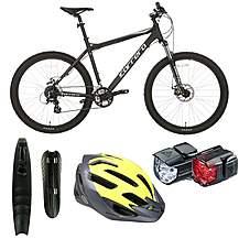 image of Carrera Vengeance Mountain Bike - Black, Mudguards, Helmets And Lights Bundle