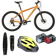 image of Carrera Vengeance Mountain Bike - Orange, Mudguards, Helmets And Lights Bundle