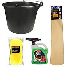 image of Chamois Leather, Sponge, Bucket & Demon Shine bundle