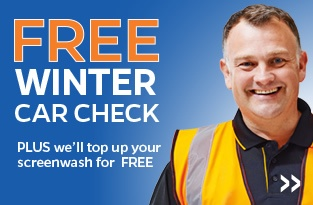 Free Winter Car Check Plus we'll top up your screenwash for free