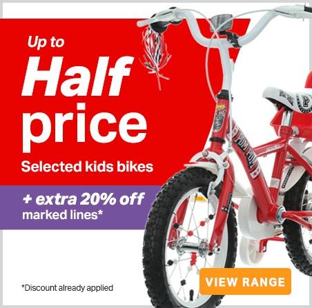 Up to half price kids bikes