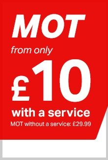 MOT from only £10 with a service, or £29.99 on its own