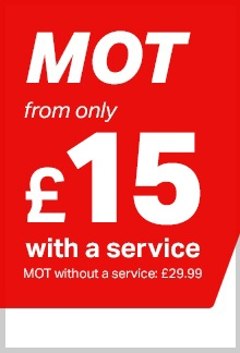MOT from only £15 with a service, or £29.99 on its own