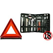 image of Halfords Motorists Tool Kit & Car Warning Triangle Bundle