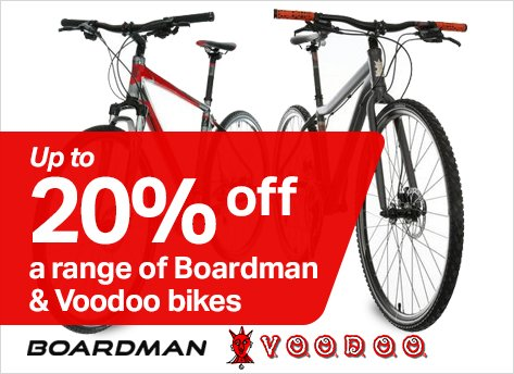 Up to 20% off Voodoo and Boardman bikes