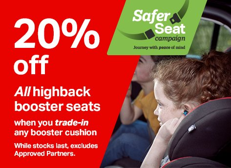 20% off all highback booster seats