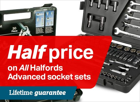 Half price on all Halfords Advanced socket sets