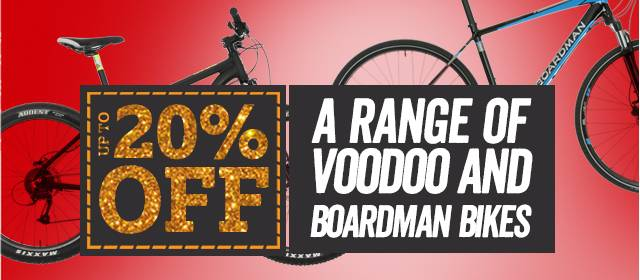 Up to 20% off a range of Voodoo and Boardman Bikes