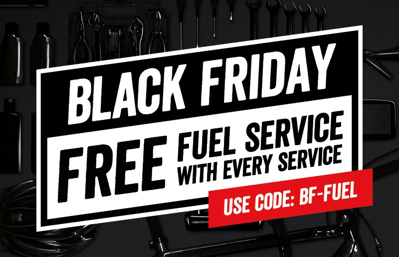 Black Friday: Free fuel service with every car service. Use Code: BF-FUEL