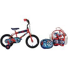 """image of Ultimate Spiderman Kids Bike 14"""" and Helmet, Knee & Elbow Pad Backpack Set"""