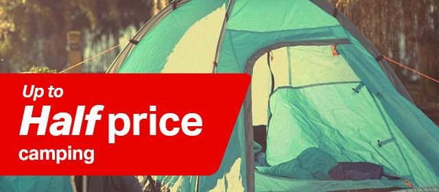 Up to half price camping