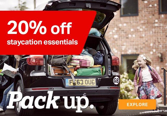 20% off staycation essentials
