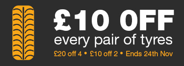 £10 OFF Every Pair of Tyres
