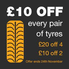 £10 OFF a pair of tyres