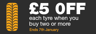 £5 OFF Each Tyre When You Buy Two or More