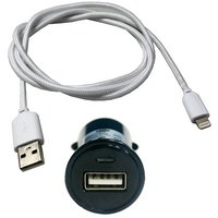 Halfords USB Car Charger Socket & Lightning Cable Bundle