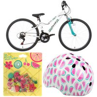 "Apollo Vivid Girls Mountain Bike - 24"", Tropical Helmet & Spokies Bundle"
