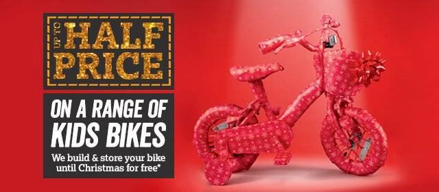 Up to half price on a range of kids bikes