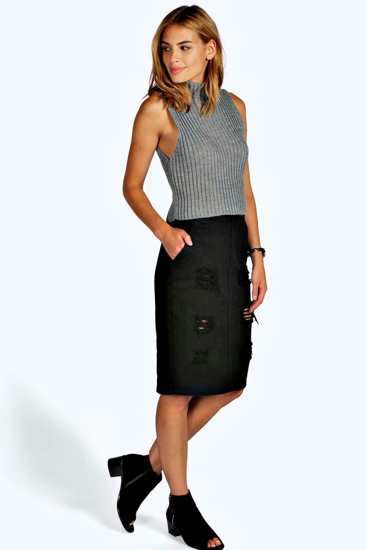 Sophie Tab Waisted Distressed Denim Midi Skirt at boohoo.com