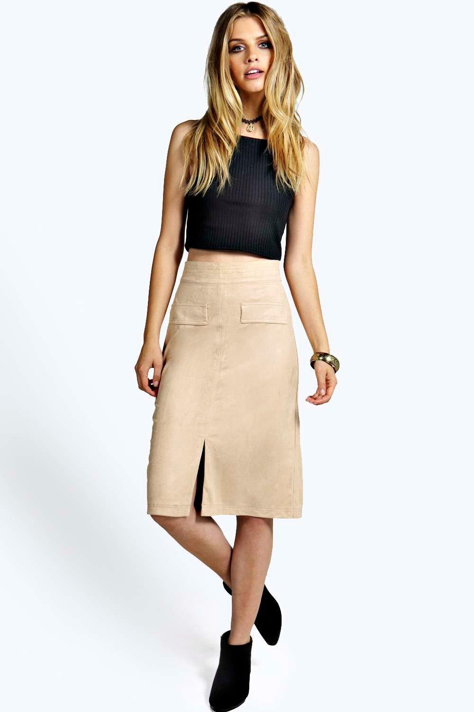 Kellie Pocket Detail Faux Suede Midi Skirt at boohoo.com