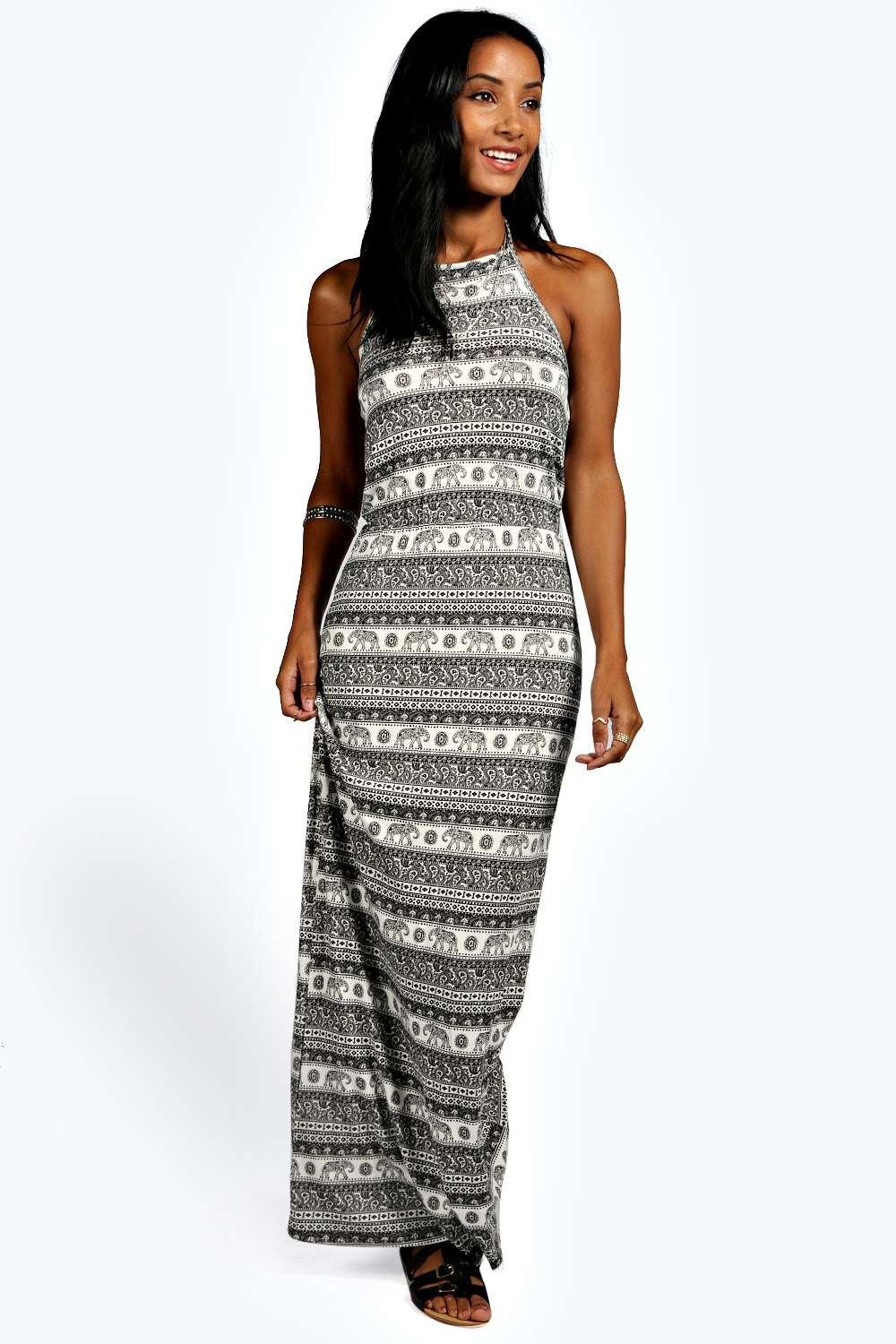 Millie Elephant Halter Maxi Dress
