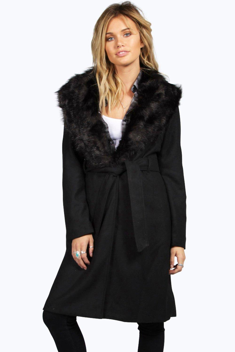 Jess Shawl Faux Fur Collar Belted Coat at boohoo.com