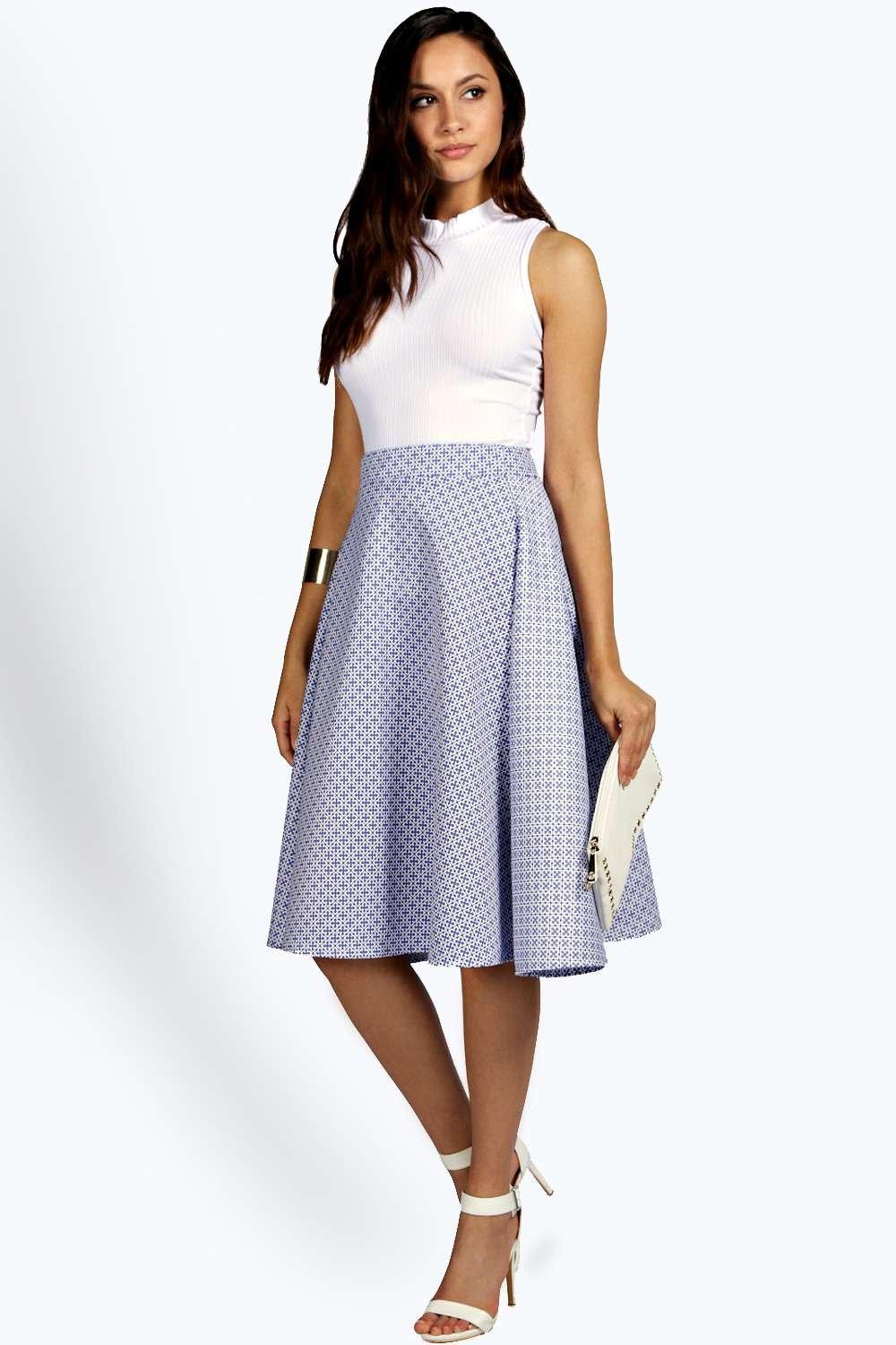 Tia Tile Print Full Scuba Midi Skirt at boohoo.com