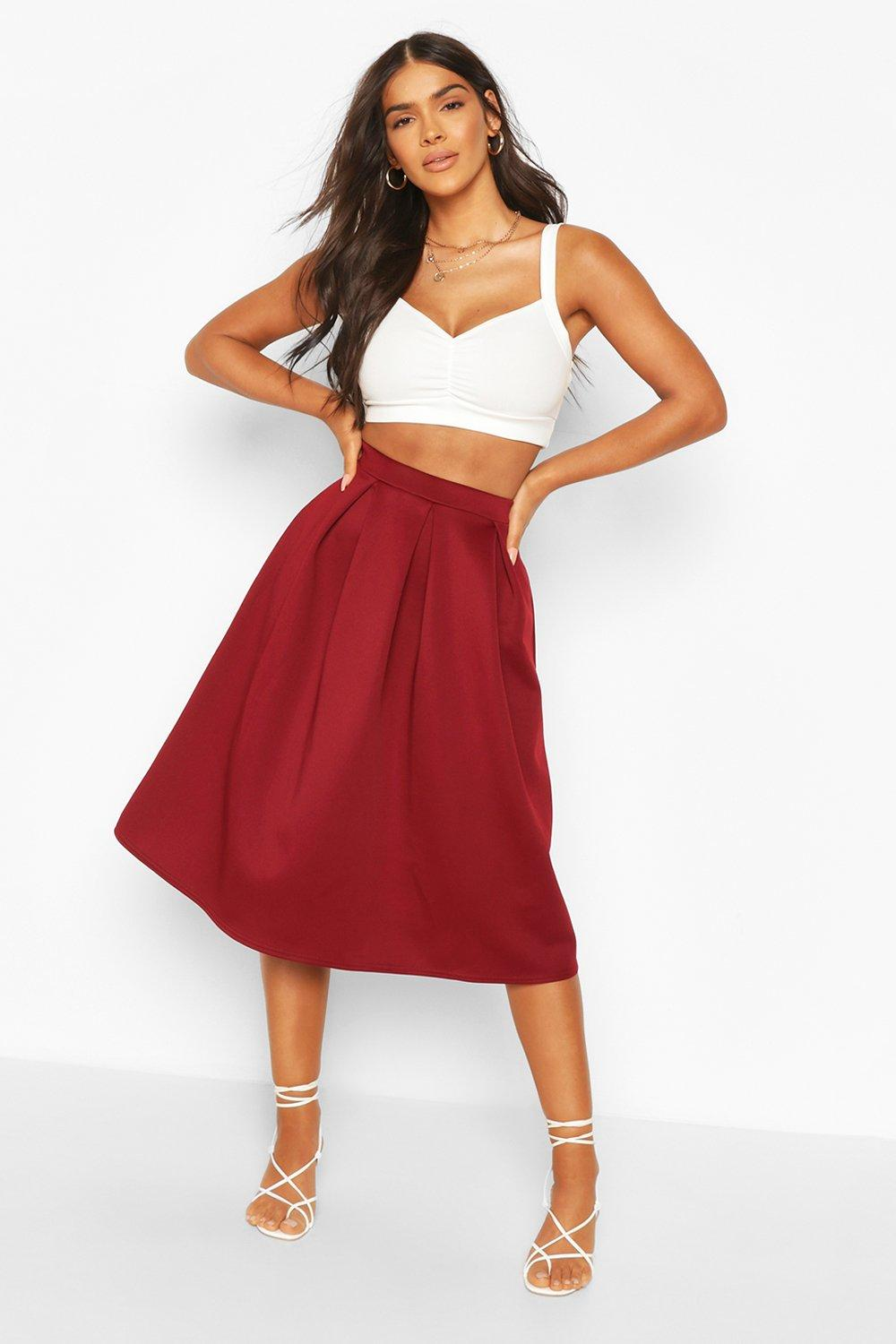 Beau Box Pleat Midi Skirt at boohoo.com