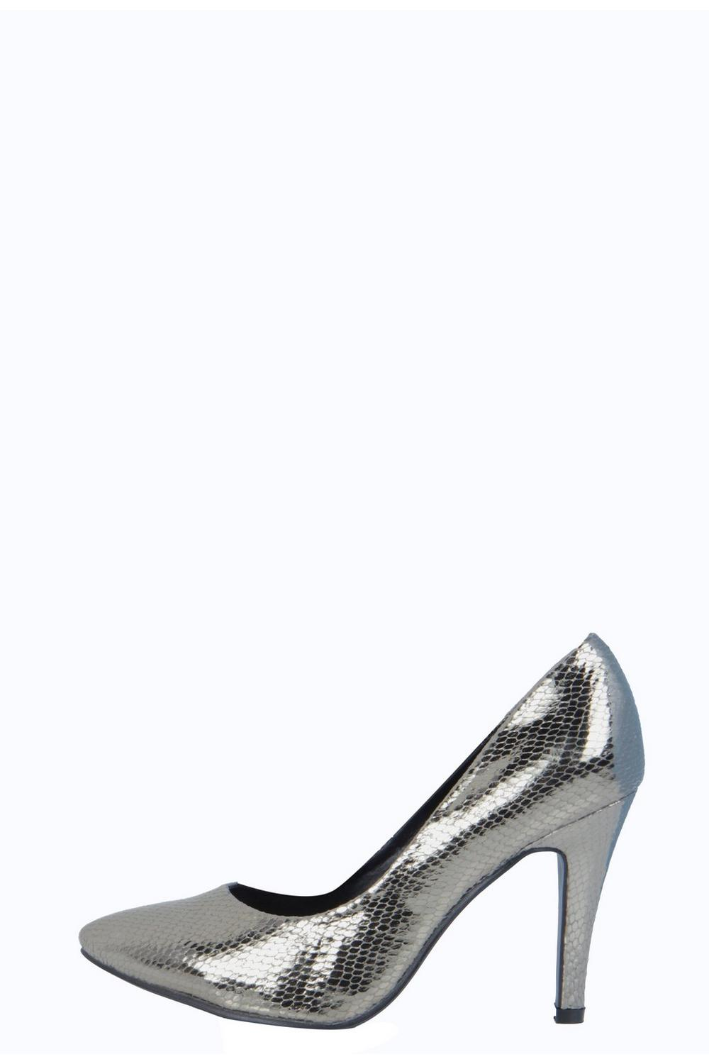 Catherine Metallic Snake Court Heels