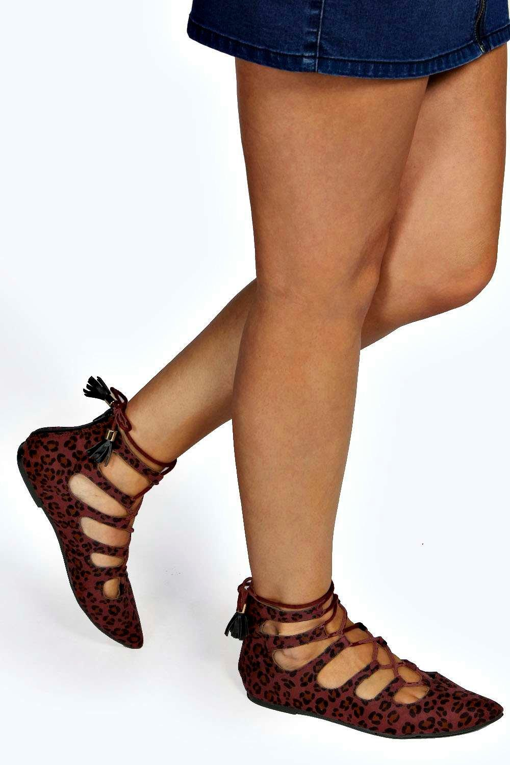 Bethan Animal Print Pointed Ghillie Tie Flat