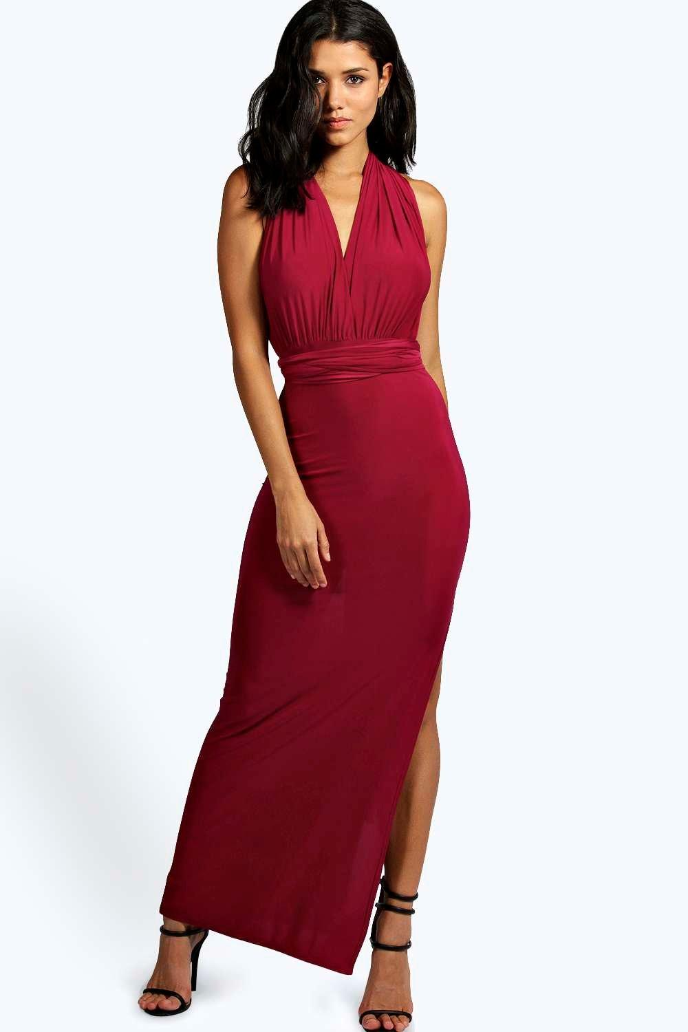 Faith multi way strappy slinky maxi dress at for Boohoo dresses for weddings