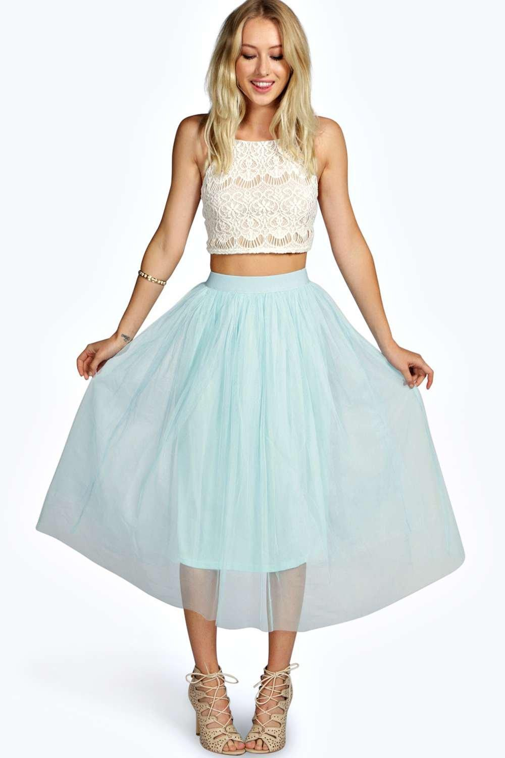 Boutique Sophie Tulle Mesh Full Circle Midi Skirt at boohoo.com