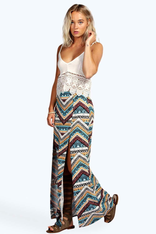 aztec print split maxi skirt at boohoo