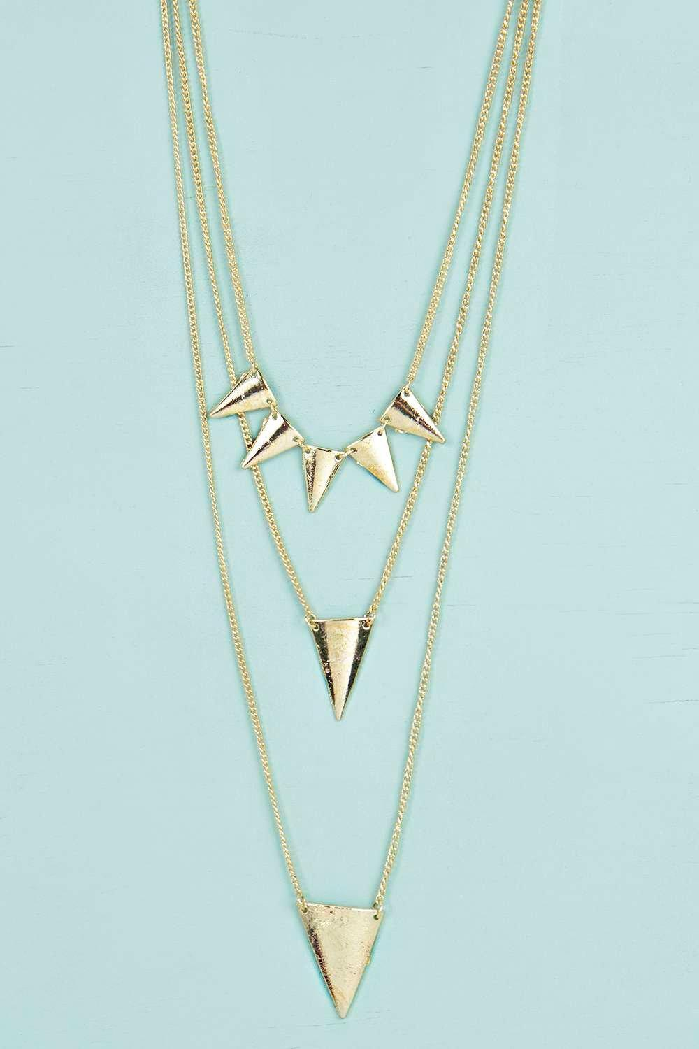 Daisy Triple Layered Spike Necklace