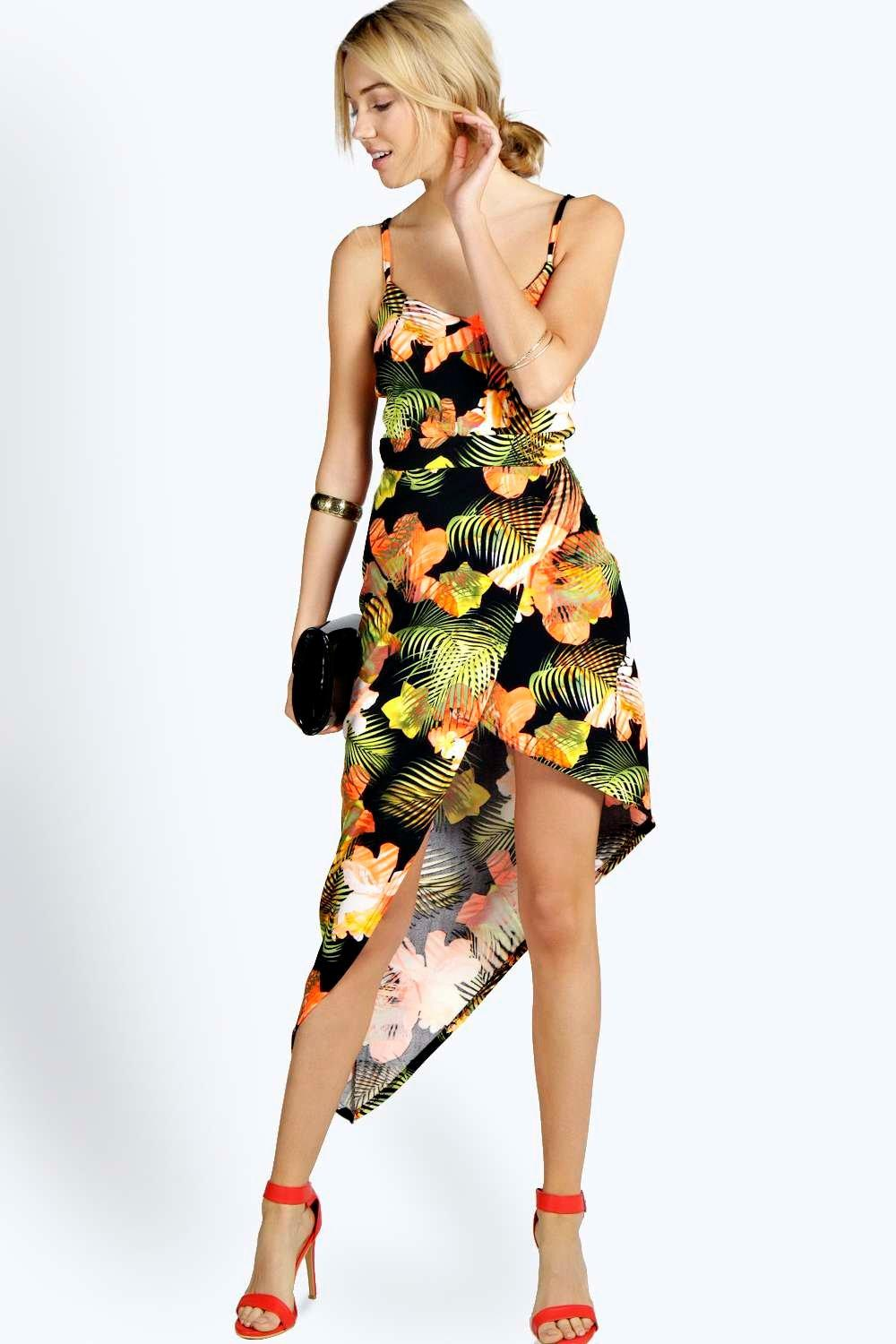 Misha Tropical Asymmetric Bodycon Dress