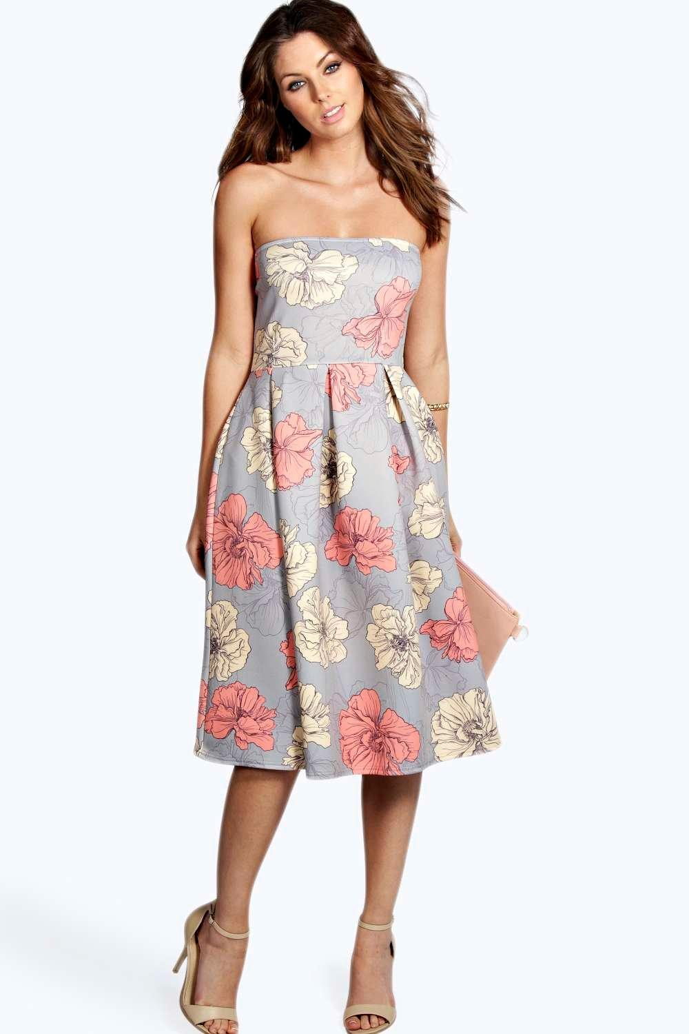 Lucinda floral print bandeau midi skater dress at for Boohoo dresses for weddings