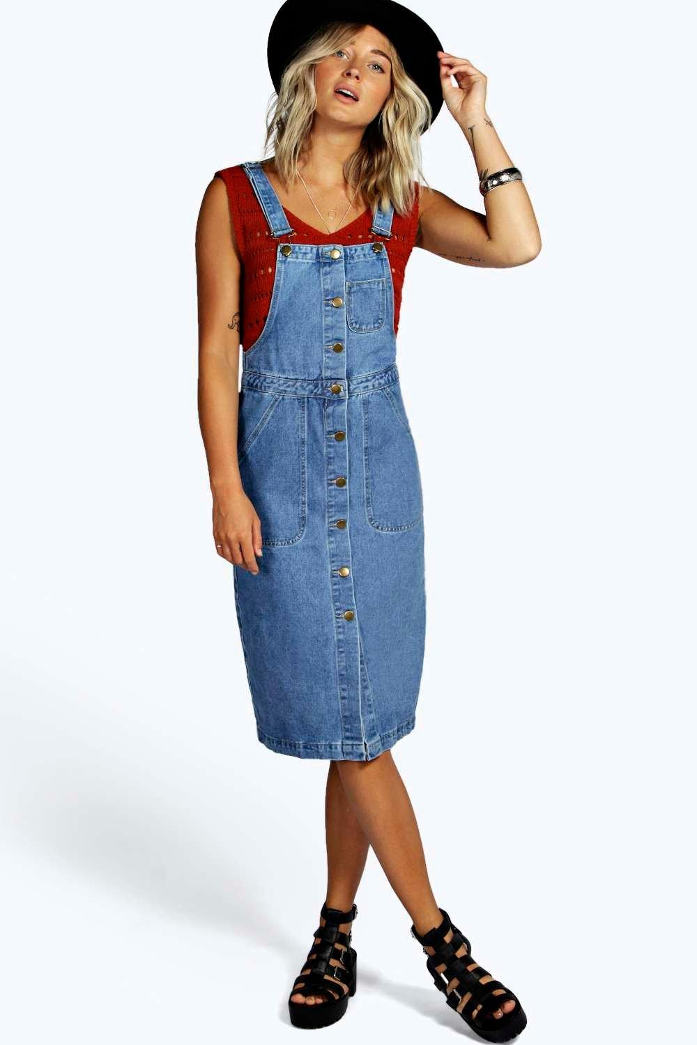 Anthea A Line Button Through Denim Pinafore