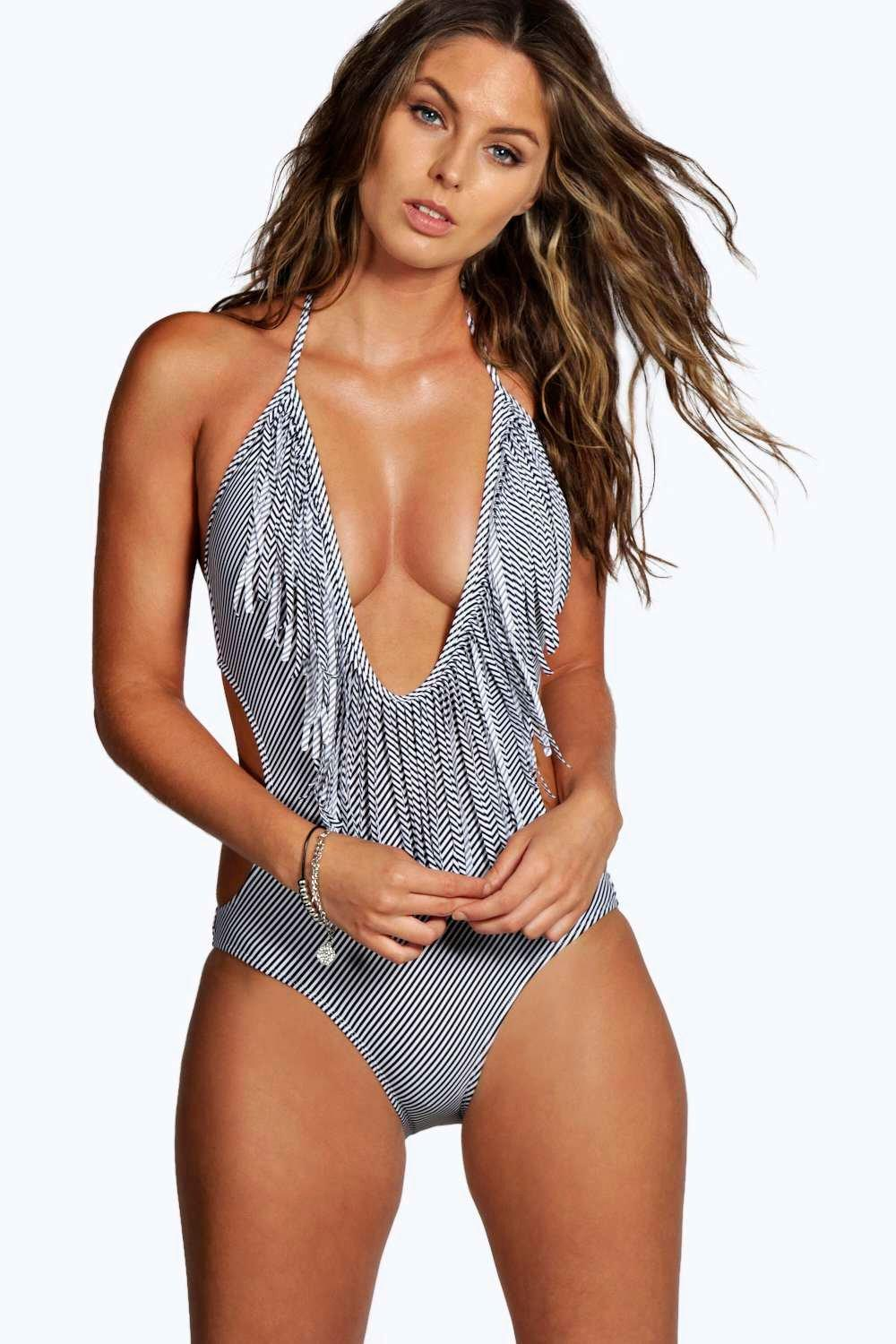 Jamaica Deep Plunge Stripe One Piece