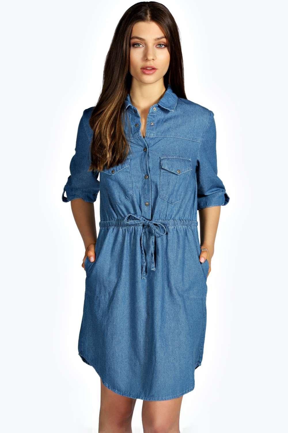 Leslyn Tie Waist Denim Shirt Dress