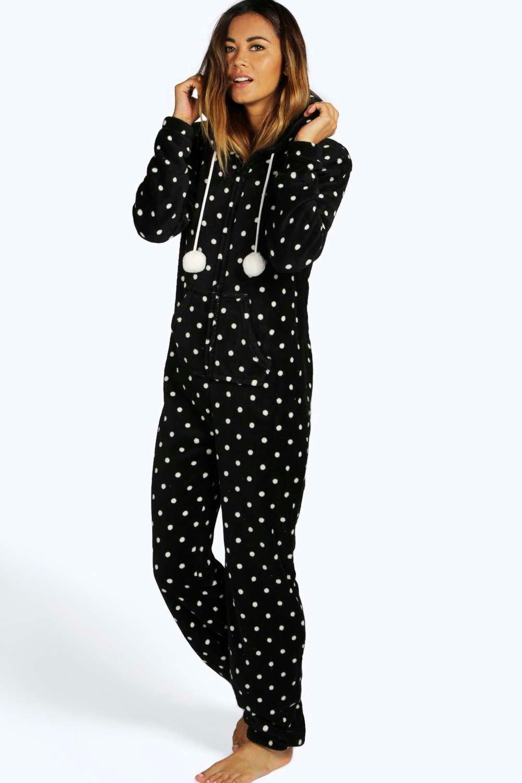 holly polka dot fleece onesie at boohoocom