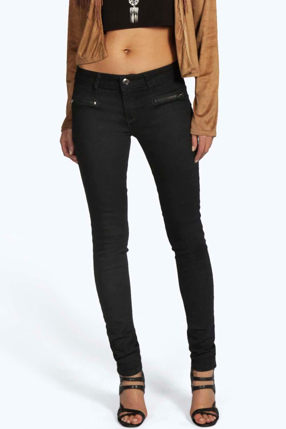 Kelly Low Rise Zip Pocket Supersoft Skinny Jeans
