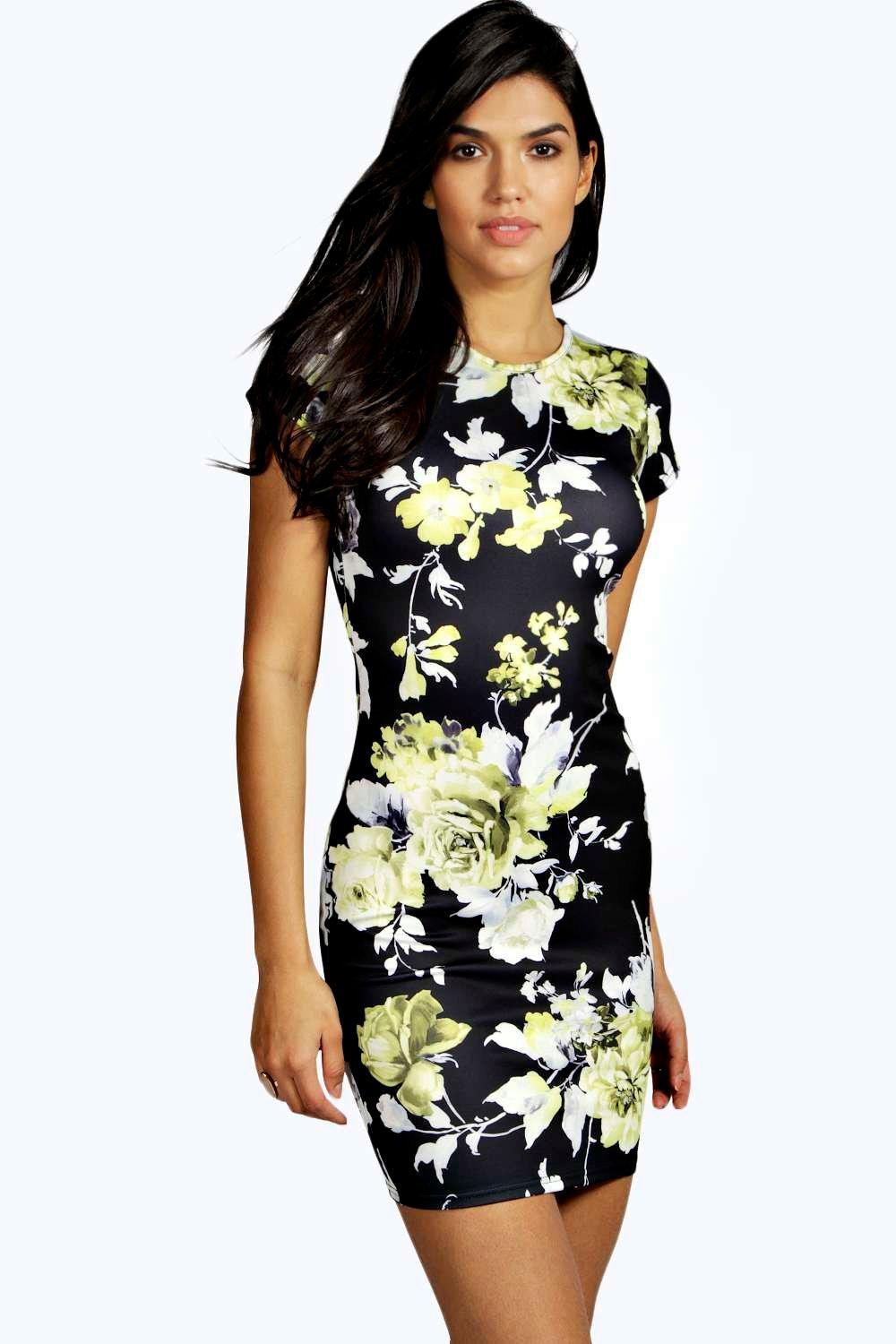 Pollie floral cap sleeve bodycon dress at for Boohoo dresses for weddings