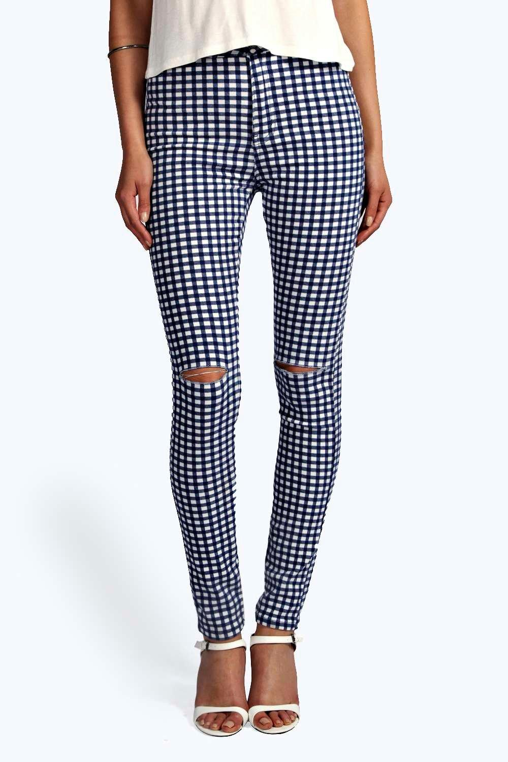 Lara Gingham High Waist Tube Jeans