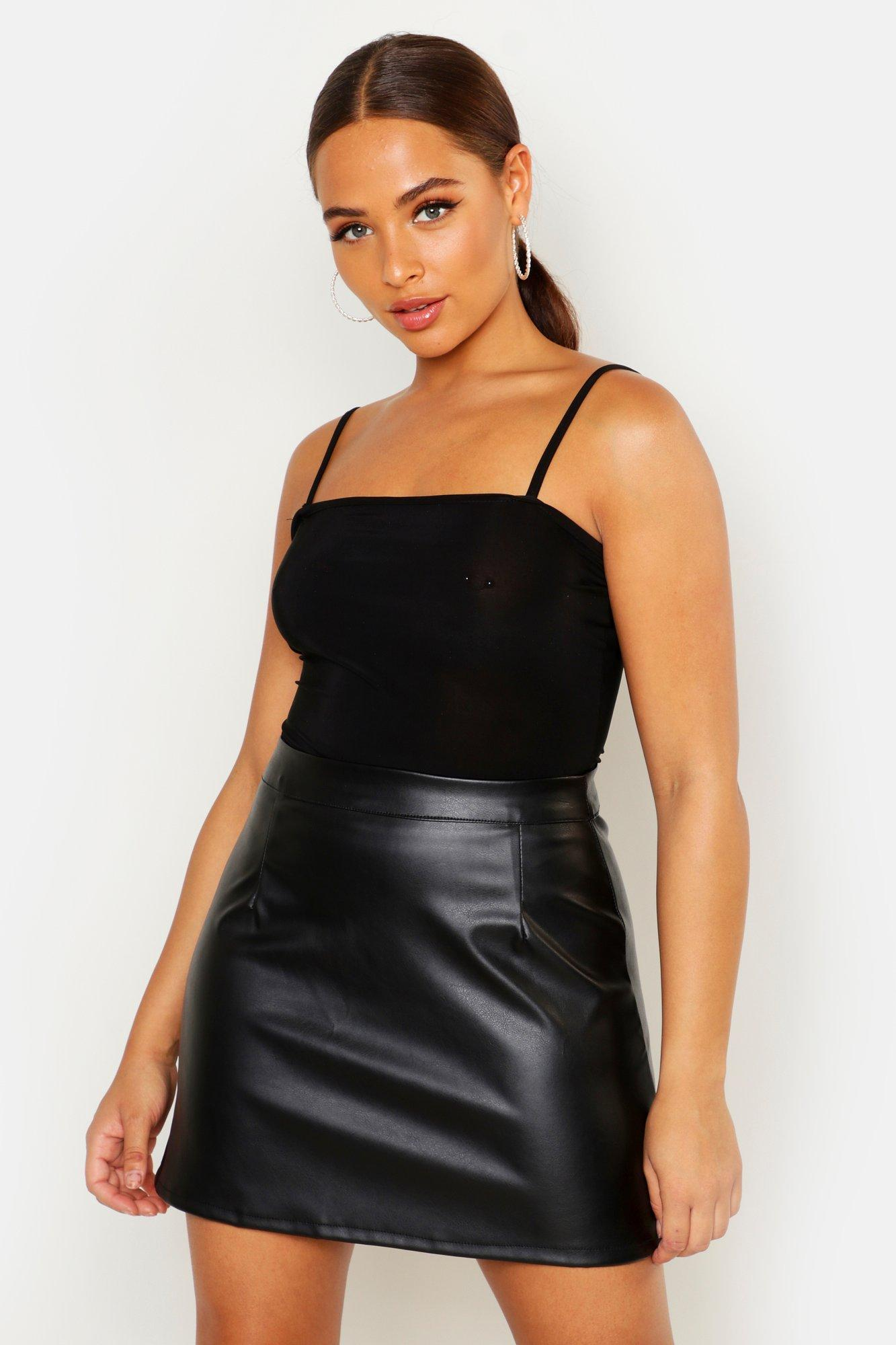 Luna Leather Look A Line Mini Skirt at boohoo.com