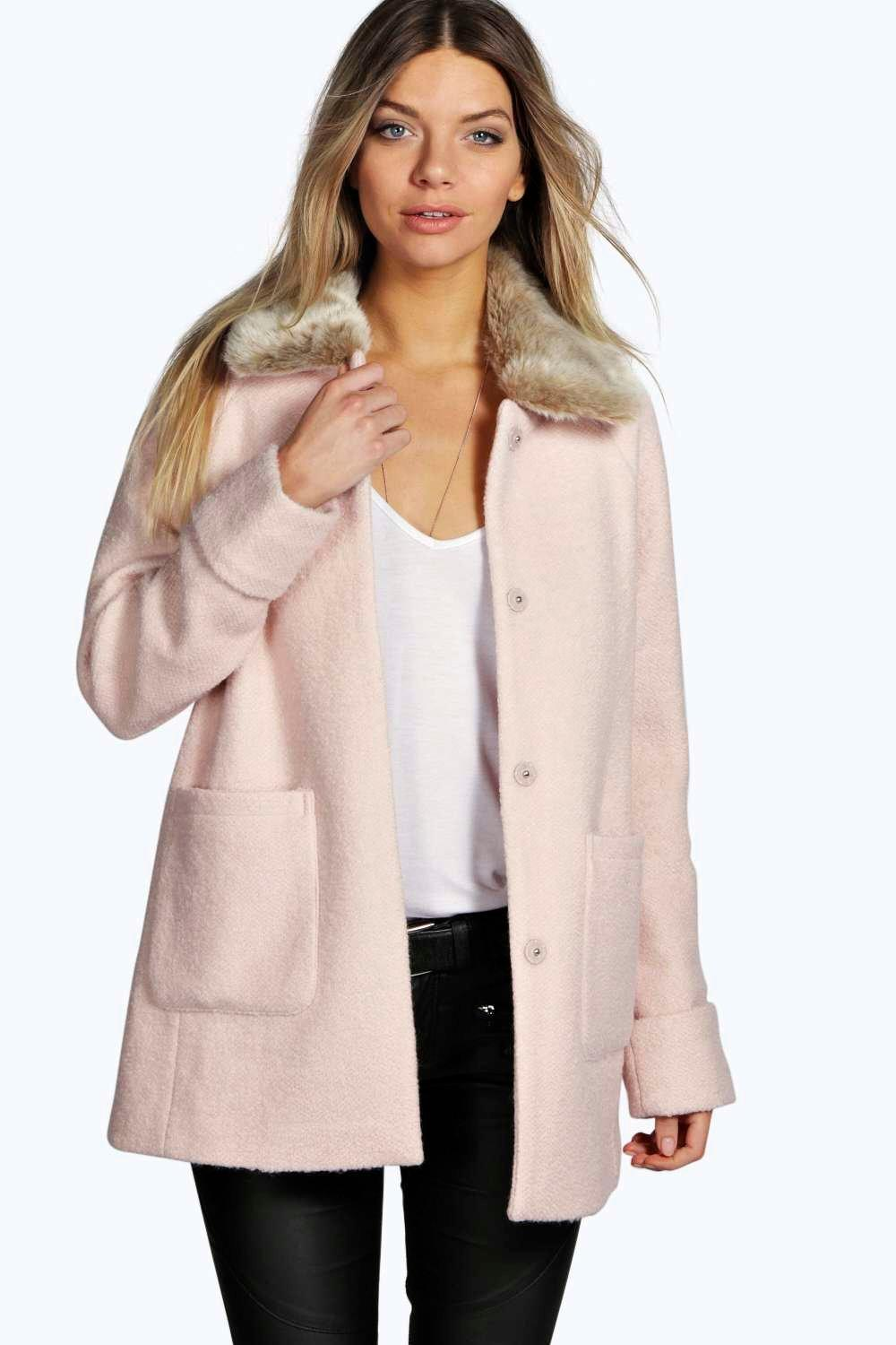 Aniee Faux Fur Collar Coat at boohoo.com